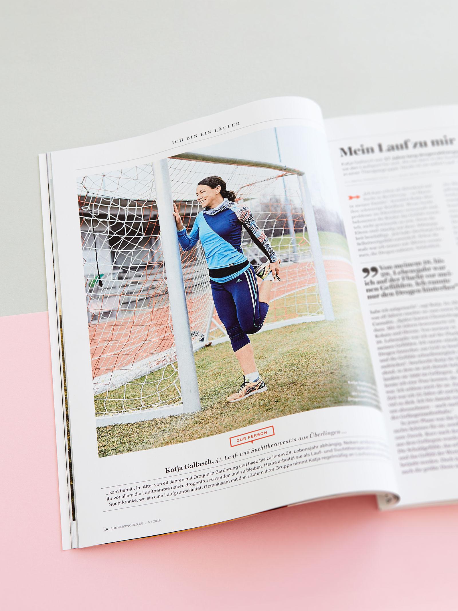 Shooting mit Katja Gallasch, für die Rubrik -Ich bin ein Läufer - für das Runner's World Magazin, Ausgabe 05/2018